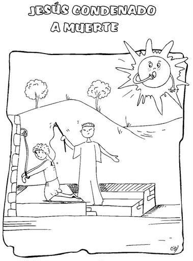Jesúcristo condenado a muerte y torturado con latigazos - Dibujo para colorear