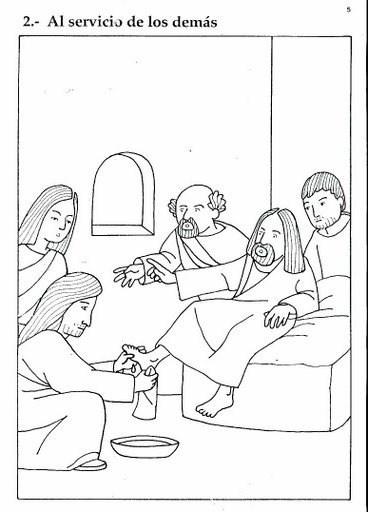 Jesús al servicio de los demás - Dibujos de semana Santa para imprimir gratis y colorear