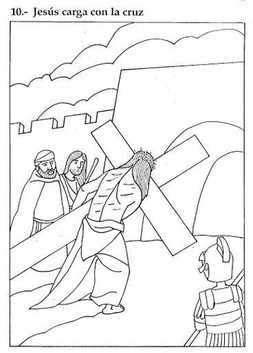Jesús cargado con la cruz donde fue crucificado en el Monte de los Olivos - Colorea y Pinta con Aprende Feliz