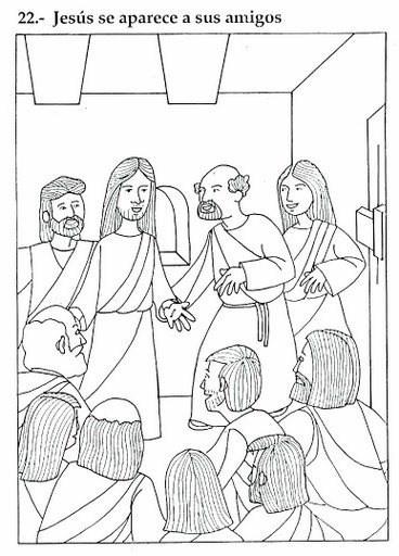 La aparición de Jesús resucitado para imprimir gratis y pintar