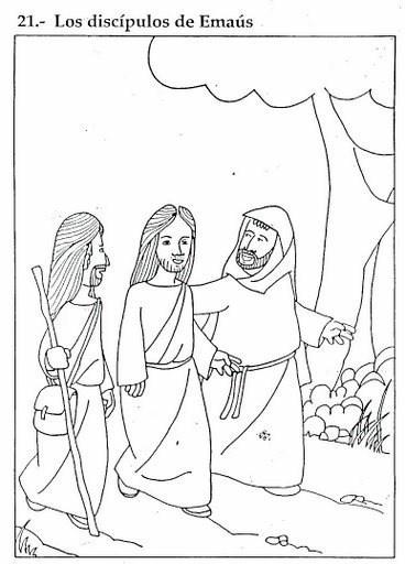 Los discípulos de Emaús con el Cristo resucitado - Para pintar y colorear en Domingo de Resurrección