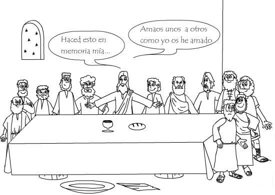 Pinta y colorea dibujos de Semana Santa de la Última Cena de Jesús