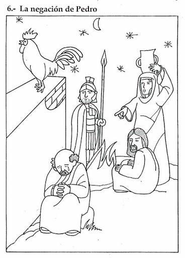 Pintar y colorear esta Semana Santa dibujos gratis como la Negación de Pedro