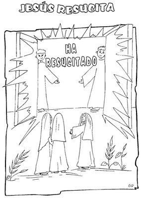Semana Santa artística para los niños coloreando la Resurrección de Jesús