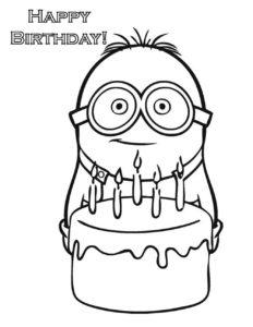 Dave de los Minion-con-pastel de cupleaños para imprimir, recortar y colorear