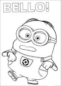 Dibujo divertido del personaje Jerry Minion para colorear y pintar