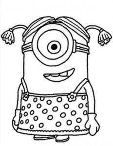 Imprime gratis el dibujo de Stuart de los Minion para pintar y colorear