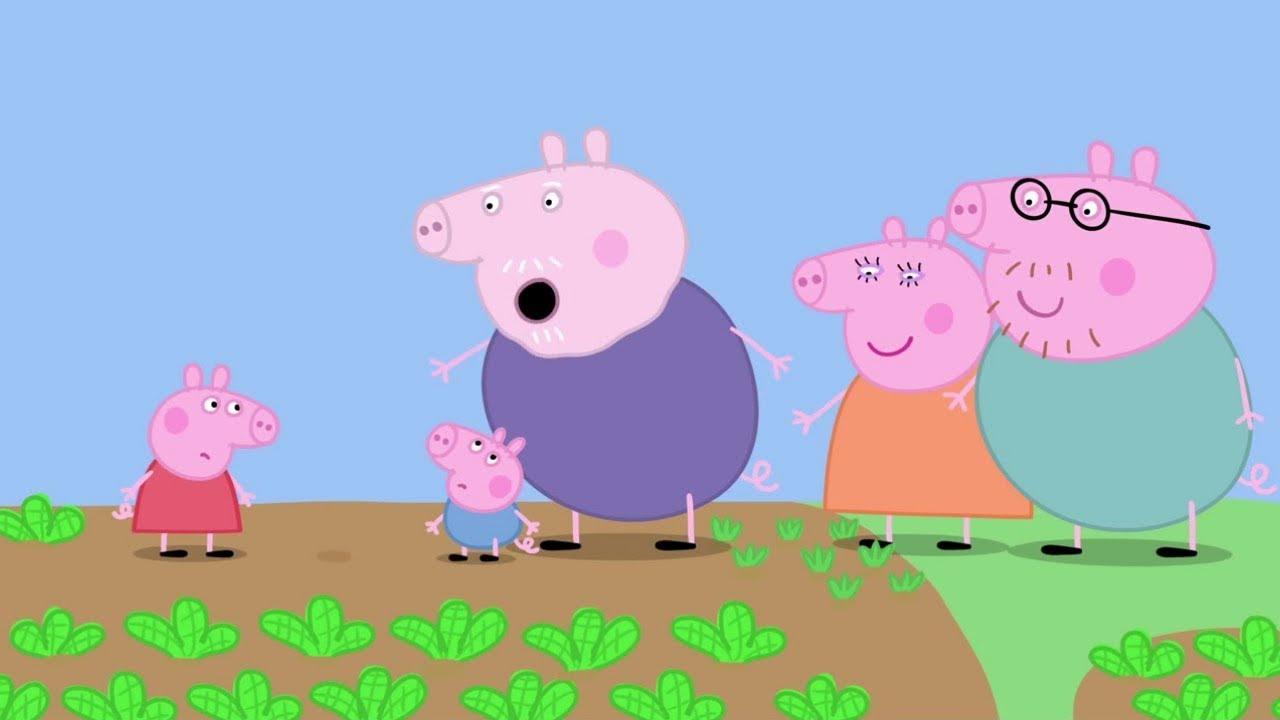 Peppa Pig se divierte en el huerto junto a George
