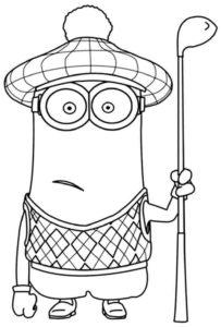 Pinta y colorea a personajes de los Minion Kevin jugando al golf
