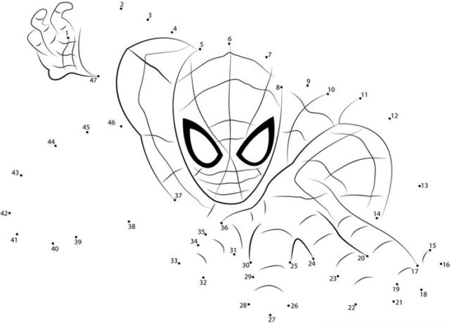 Dibuja a Spiderman uniendo los puntos numéricos