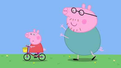 Peppa Pig aprende a montar en bicicleta