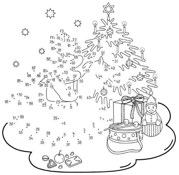 Dibujar árbol de Navidad con regalos uniendo los números