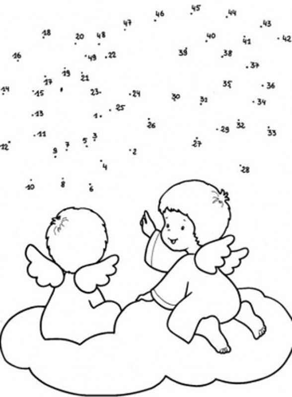 Hacer dibujos de ángeles de Navidad uniendo los puntos numéricos