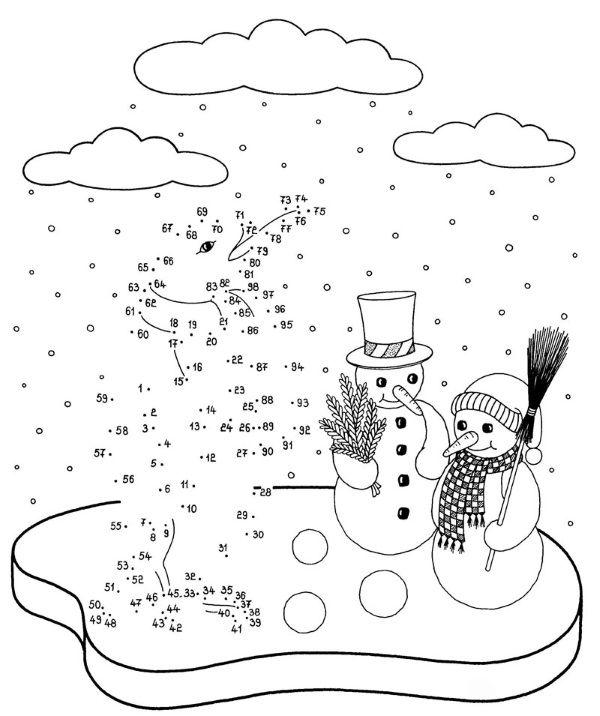 Une los números para dibujar personajes de Navidad