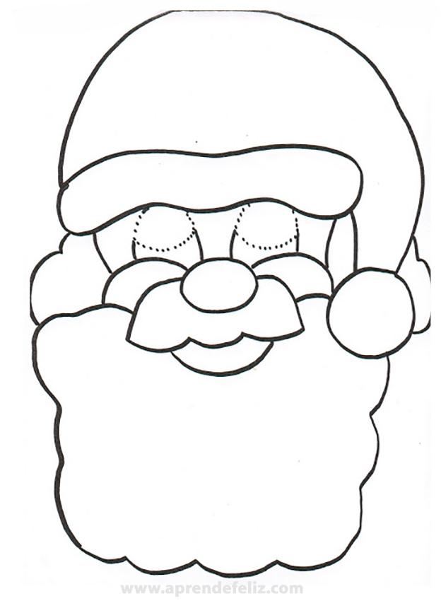 Careta de Papa Noel para imprimir gratis, recortar y pintar con tus colores favoritos