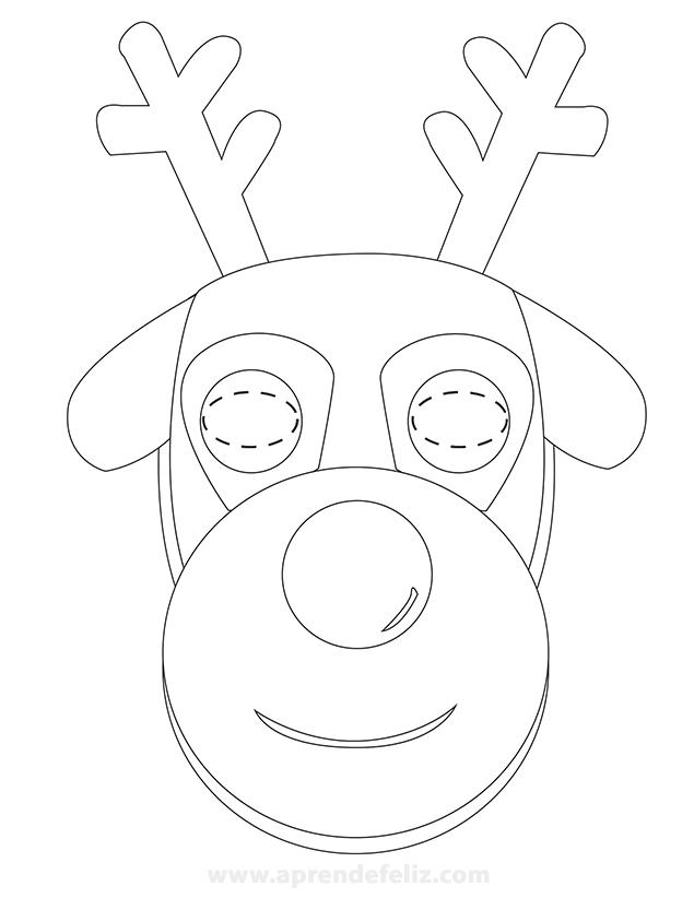 Caretas de reno de Navidad para imprimir gratis, recortar y colorear