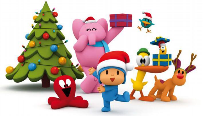 Dibujos de Pocoyo haciendo el árbol de Navidad