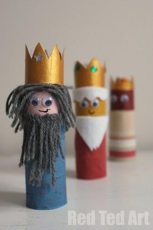 Hacer Reyes Magos con rollos de papel higiénico