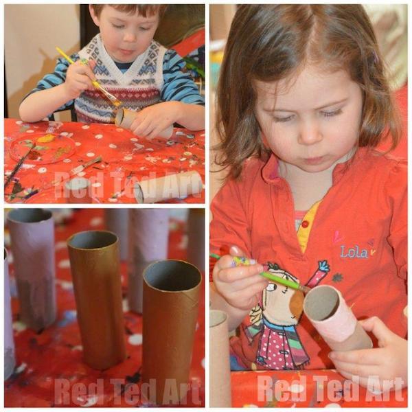 Paso 1 - Pintamos los rollos de cartón