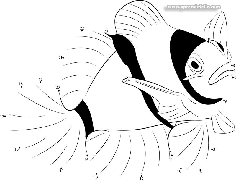 Necesitamos tu ayuda para terminar de dibujar este pez, si saber contar no tendrás problemas para finalizar el dibujo
