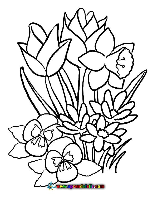 Descarga e imprime gratis este dibujo de unas bonitas flores para pintar y decorar tu habitación