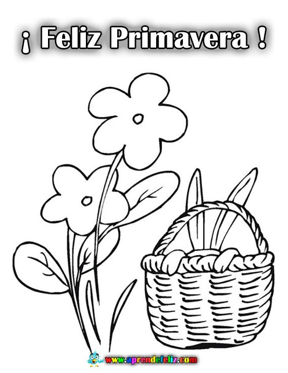 Dibujo para colorear deseando una Feliz Primavera, se lo puedes regalar a tu familia o a tus amigos