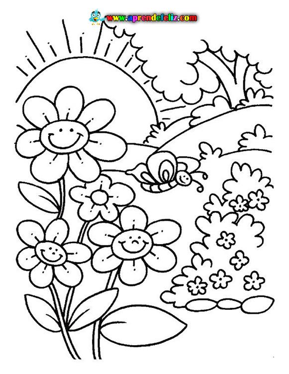 Hermoso dibujo de unas flores disfurtando del sol junto a una mariposa listo para colorear gratis