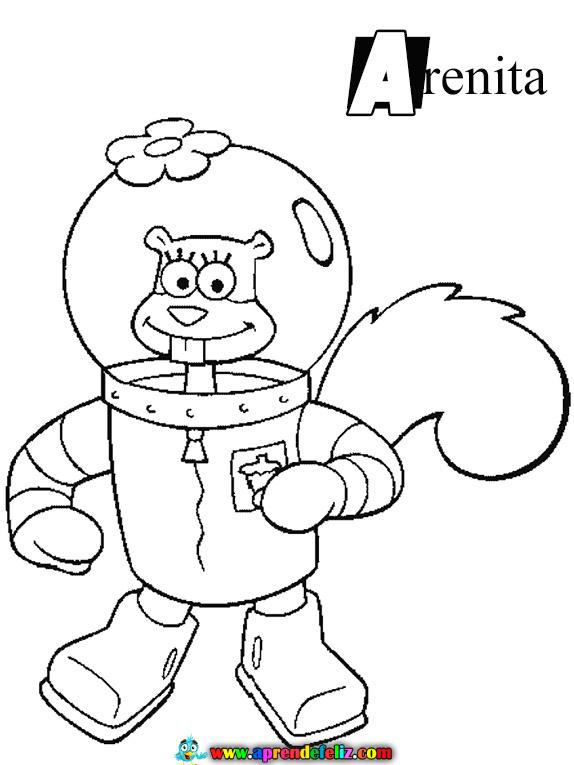 Aprende a Colorear dibujos de los personajes de la serie de Dibujos Animados Bob Esponja como Arenita