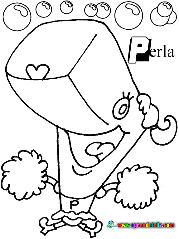 También puedes colorear este dibujo de la ballena Perla , un personaje secundario de Fondo de Bikini