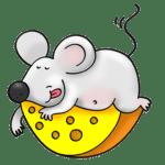 El ratón Pérez descansando sobre el queso