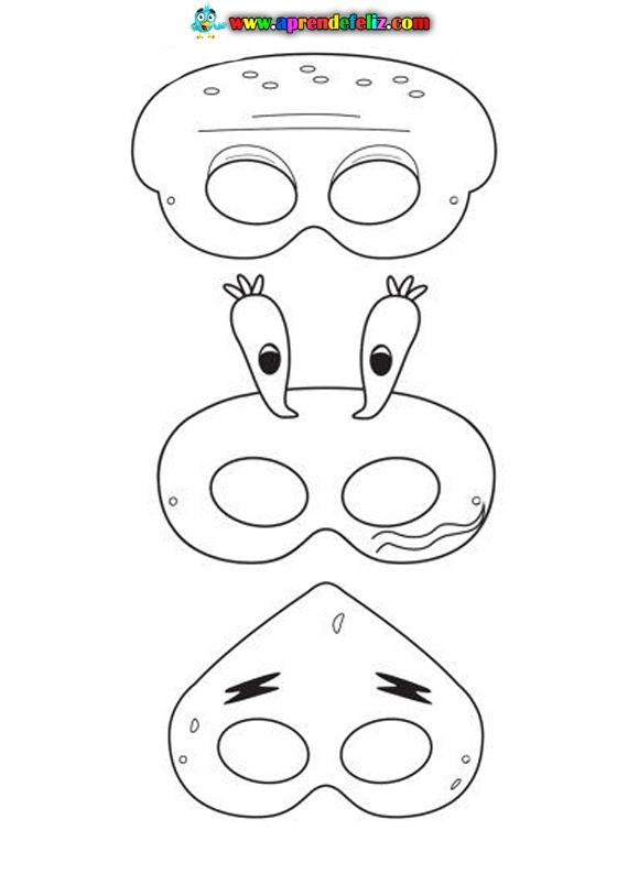 Máscaras de Calamardo, Patricio y el Sr Cangrejo para colorear, recortar y hacer un disfraz