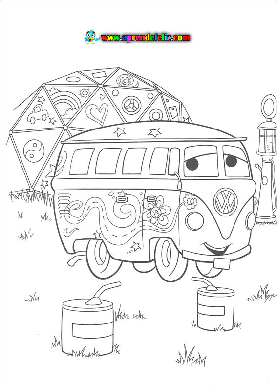 Imprime gratis y colorea este dibujo de Fillmore - Cars 1