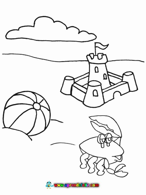 Colorea este dibujo de la playa para disfrutar en verano