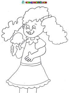 Dibujo para colorear de una niña feliz comiéndose un rico helado