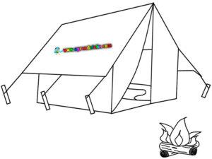 Pinta y colorea este dibujo de acampada en verano