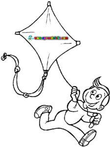 Pintar dibujo de juegos veraniegos como volar una cometa